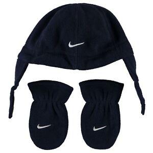 b7df355e New Nike Boys Hat & Mittens Set Fleece Navy Infants Baby Age 12 to ...