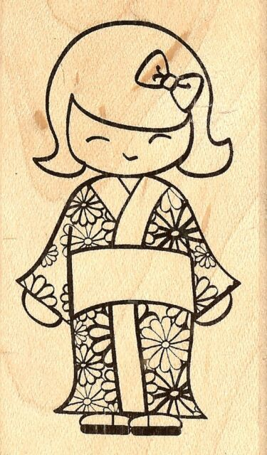Little Girl with Doll Wood Mounted Rubber Stamp Impression Obsession E8894 NEW
