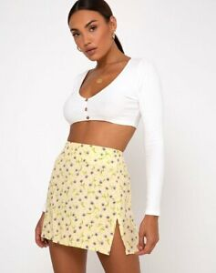 MOTEL-ROCKS-Sheny-Mini-Skirt-in-Wild-Flower-Lemon-Drop-XS-mr95