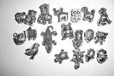 10 TIERE European Bead MIX Großloch Perlen Tibet Silber für Armband Advent NEU
