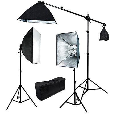 Julius Studio 2400W Watts Photo Soft Box Video Lighting Light Boom Stand Kit
