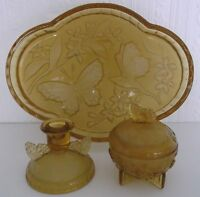 VINTAGE SOWERBY ART DECO AMBER GLASS BUTTERFLY FROSTED DESIGN DRESSING TABLE SET