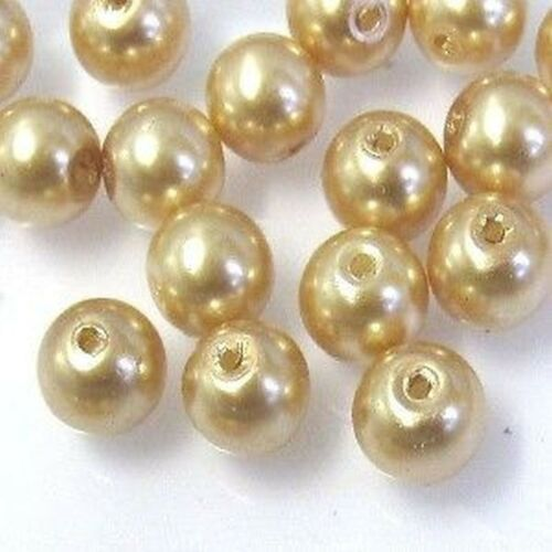 100 pieces Rose Gold Glass Pearl Beads K1016-8mm