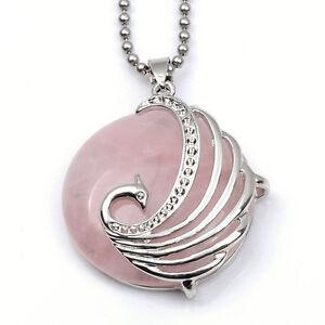 Phoenix-Rose-Quartz-healing-point-chakra-pendant-Gemstone-Jewelry-beads-Necklace