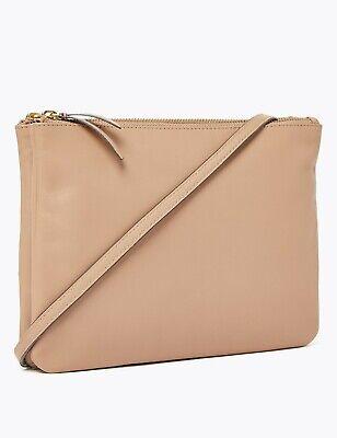 M/&S Genuine Leather Double Zip Cross Body Bag Tan
