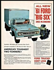 1961 Ford 2 Ton Blue Box Truck 1960s Ad Old Advertising Ebay