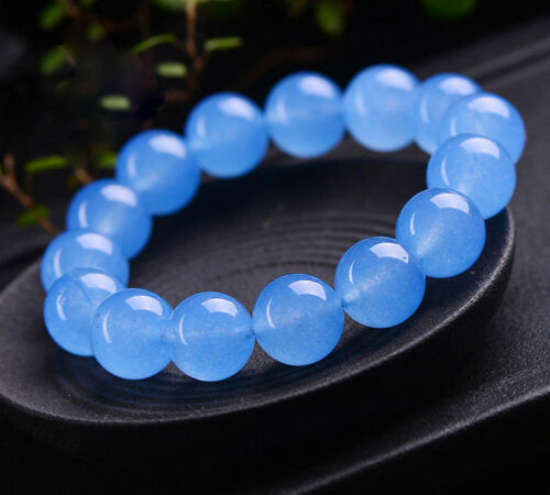 Fashion Women/'s 12 mm Naturel Bleu Jade Round Gemstone Beads Bracelet Y3365