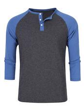 US Mens 3/4 Raglan Sleeve Cotton Henley T-Shirt Contrast Color Baseball Tee Tops