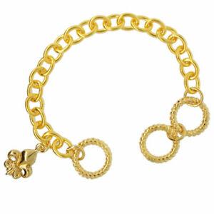 Lunch-at-The-Ritz-Fleur-de-Lis-Adjustable-Bracelet-Chain-Goldtone
