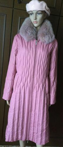 donna pelliccia in Piumino rosa Down con Stunning taglia Donna M Piumino Coat collo da colore OwqF8YnX