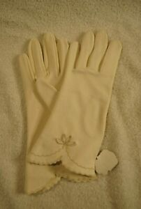 Vintage-Women-039-s-Gloves-Size-Regular-Max-Mayers-Western-Germany-White-Embroidered