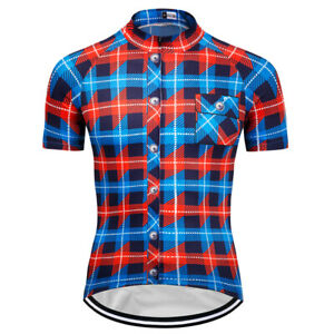 New-Mens-Short-Sleeve-Cycling-Jerseys-Bicycle-Team-Jersey-Plaid-Shirt-Blue-Color