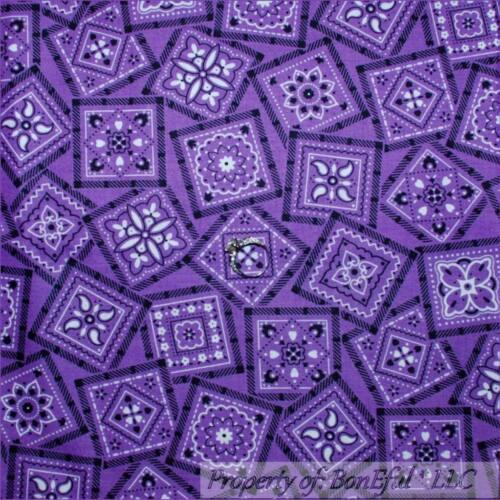 BonEful Fabric FQ Cotton Quilt Purple B/&W Flower Dot Cowgirl Western Bandanna US