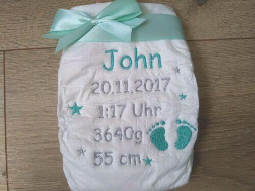 Bestickte Windel mit Geburtstag Daten Wünschname Taufe Baby