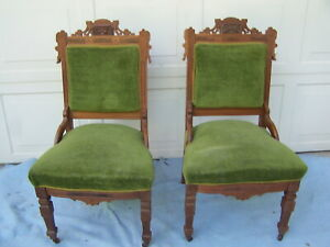 PAIR-VICTORIAN-WALNUT-PARLOR-UPHOLSTERED-CHAIRS-C-1850-EXCELLENT-CONDITION-1160