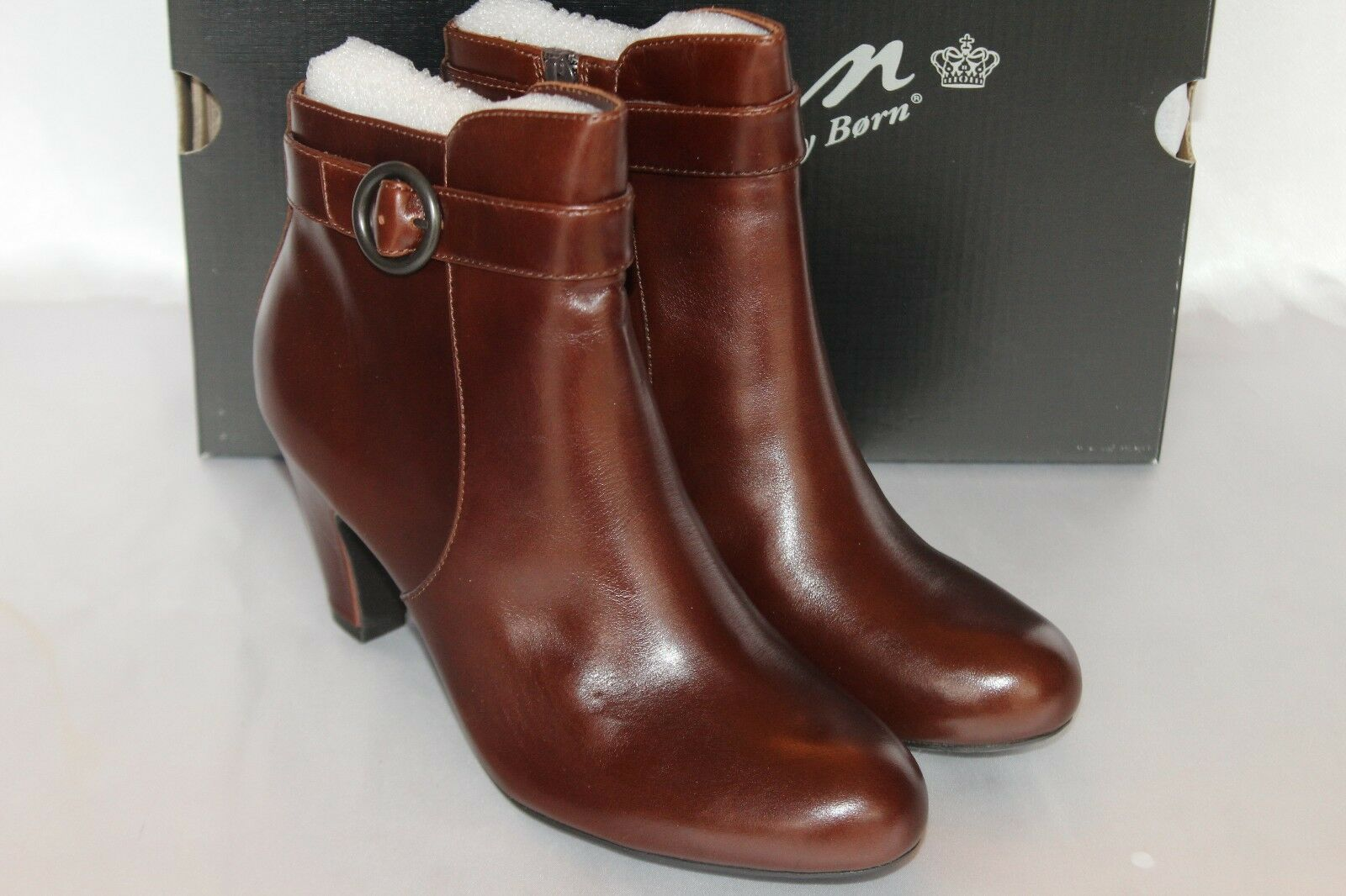 NEW! NIB! BORN Tan Brown Leather LUNNA Zip Ankle Boots Sz 8 10