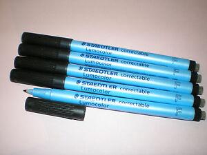 5-3x-STAEDTLER-Foil-Pen-Lumocolor-correctable-correctable-305-F-9-Black-New
