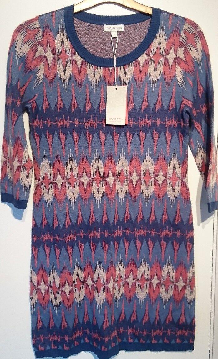 Monsoon Isla Ikat Knitted Jumper Dress Tunic Boho Small Bnwt Multi Coloured
