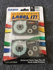 Casio LABEL IT  Universal refills 9mm XR-9WE2s Black ink White Tape