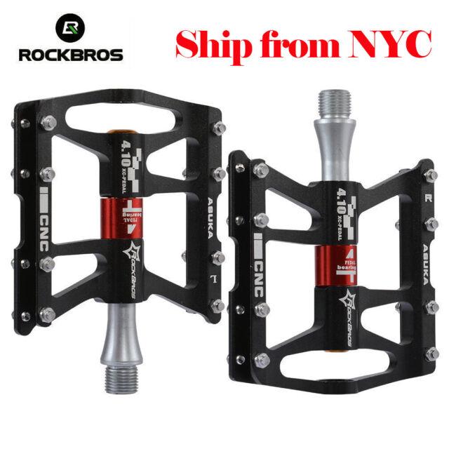 """RockBros MTB Pedals Aluminum Alloy MTB Sealed Bearing Pedals 9//16/"""" Black"""