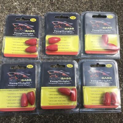 6 NEW Packs ELITE BASS Fishing 1//2oz TUNGSTEN Bullet WORM WEIGHTS Bulk ROOTBEER
