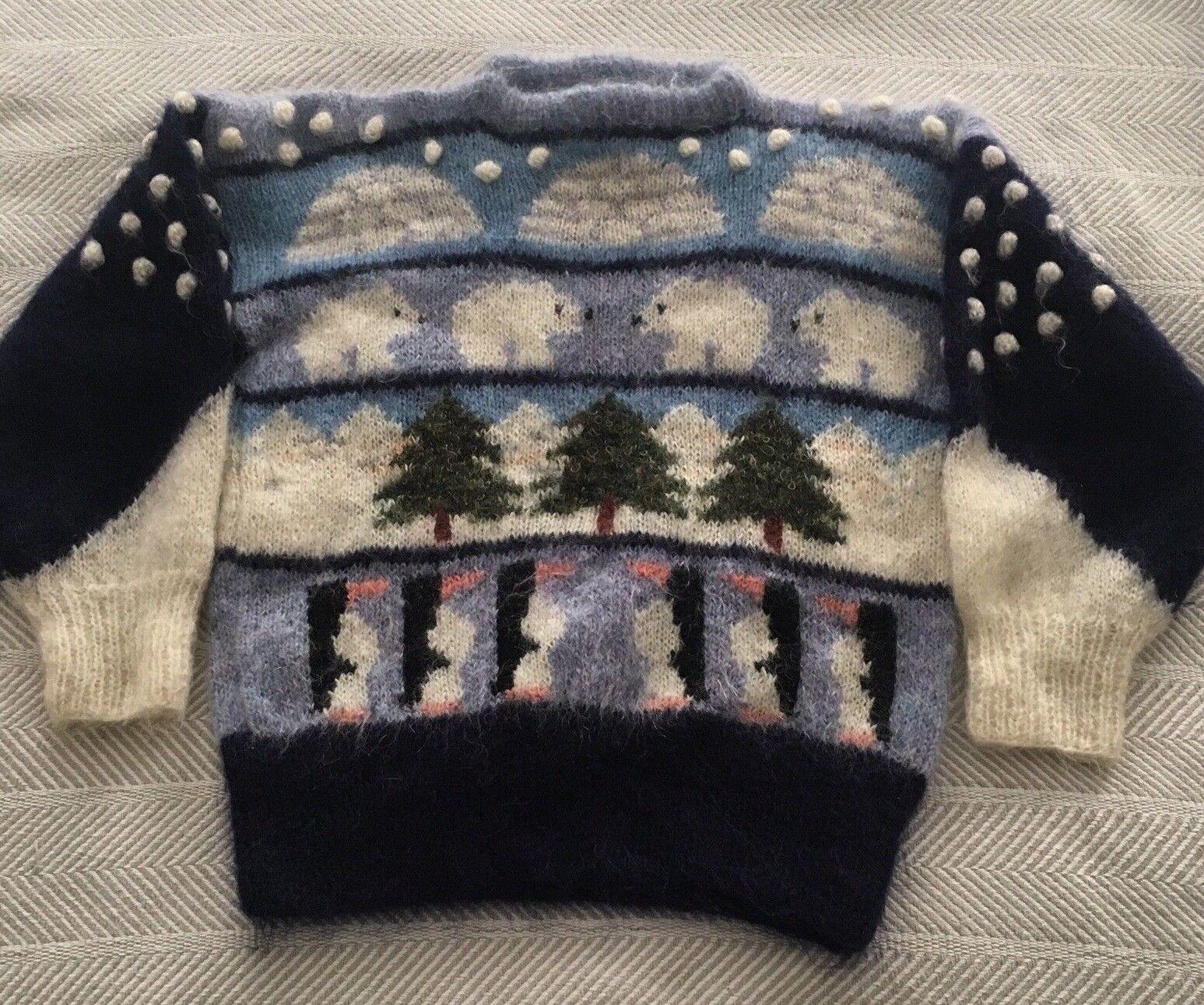 SUSIE LEE Mohair Sweater Hand Knitted Kent England Penguins Polar Bear VTG RARE