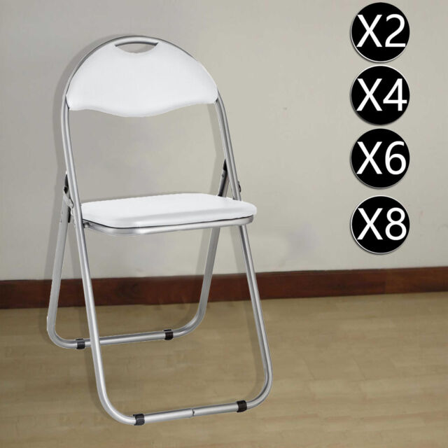 Groovy White Folding Chairs Padded Desk Guest Office Computer Seat Faux Leather Home Ibusinesslaw Wood Chair Design Ideas Ibusinesslaworg