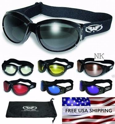 Global Vision Eliminator Foam Padded Motorcycle ATV Goggles-RED LENSES w//Pouch