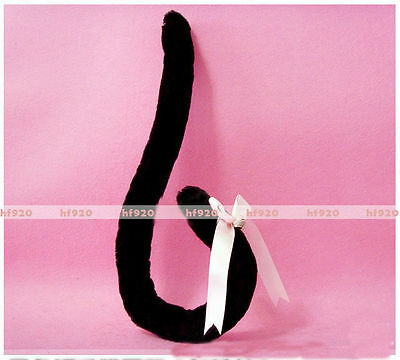 Anime Party Lolita Cosplay Costume Black Cat Tail with Bell 60cm Wire inside