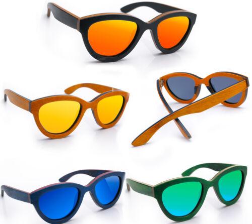Women Ladies Wooden Sunglasses Wood Mirrored Polarised Lenses Design Cat Eyes