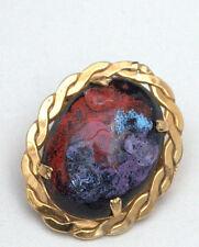 Broche émaux métal doré Limoges J. Guitard Bijou Jewellery
