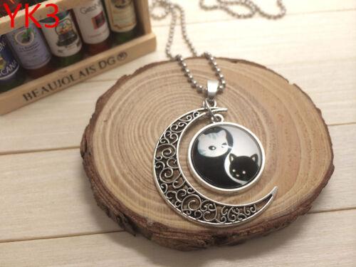 New Handmade ying et yang Mignon Chat Creux Lune Pendentif Argent Collier #YK3