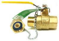 3/4 Npt X Ght Garden Hose Lead Free Brass Ball Valve With Cap 600 Wog