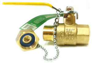 34034 NPT x GHT Garden Hose Lead Free Brass Ball Valve with