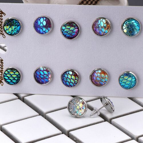 6 Pairs Beauty Scale Crystals  Round Assorted Stud Earrings Set Women