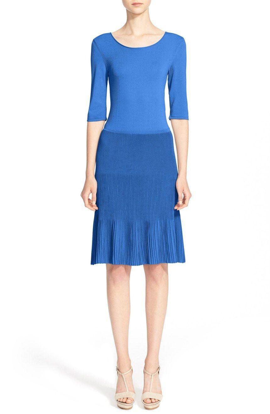 Nuevo con etiquetas Armani Collezioni  Plisse Falda Plisada Vestido Cintura Caída de punto azul 12 14  orden ahora disfrutar de gran descuento