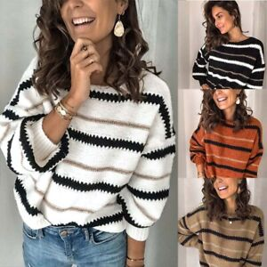 Tops-Loose-Long-Sleeve-Womens-V-Neck-Block-Knitted-Jumper-Sweater-Pullover