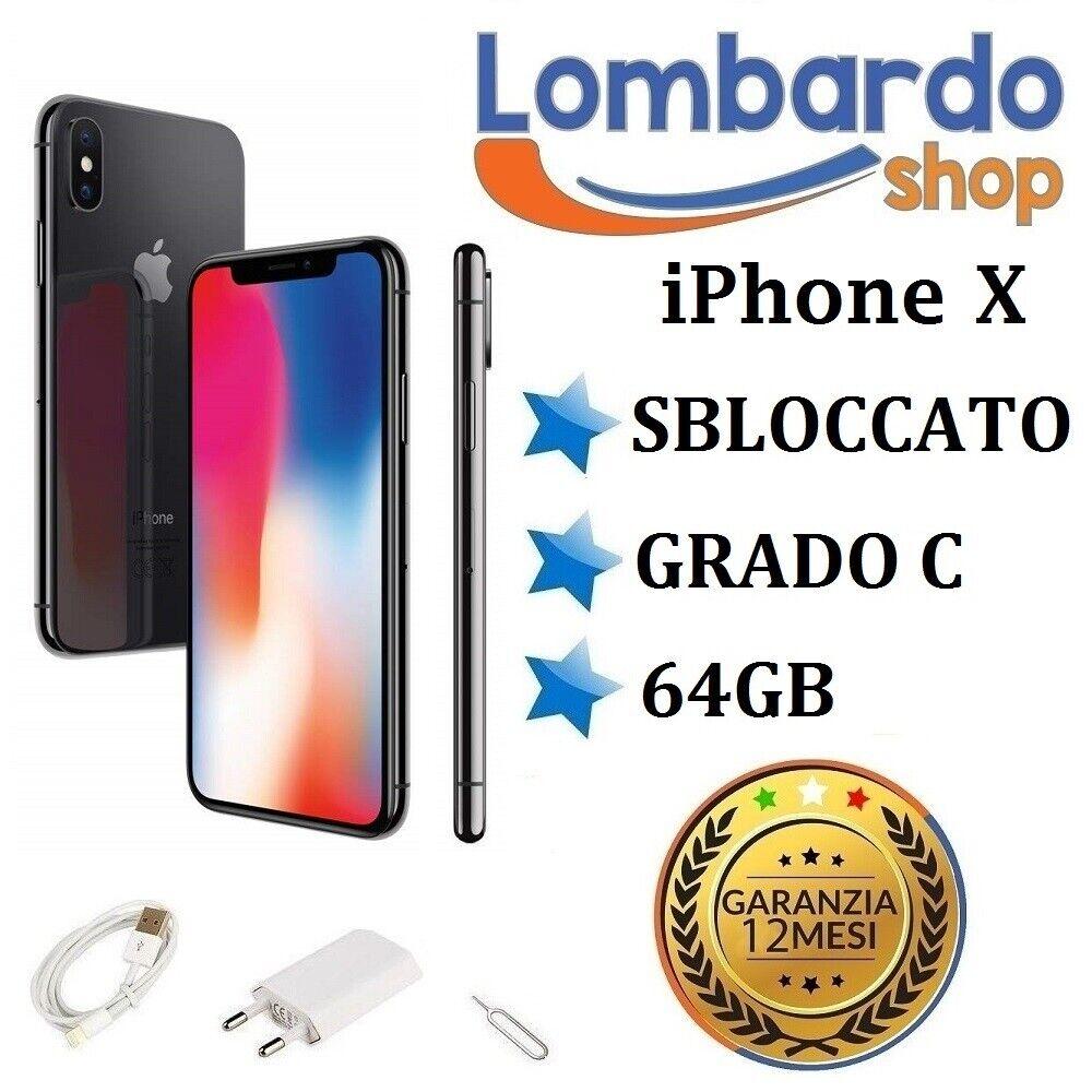 iPhone: IPHONE X RICONDIZIONATO 64GB GRADO C NERO BLACK ORIGINALE APPLE RIGENERATO