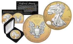 2016 U.S SILVER EAGLE 1oz Coin MIXED-METALS SILVER with 24K GOLD MATTE Backdrop