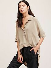 NWT Free People We The Free Rose Shirt Tunic Top Button Gold M $98