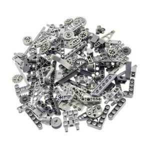 100-Lego-Technic-Teile-grau-z-B-Achs-Verbinder-Liftarme-Zahnrad-Steine-gemischt