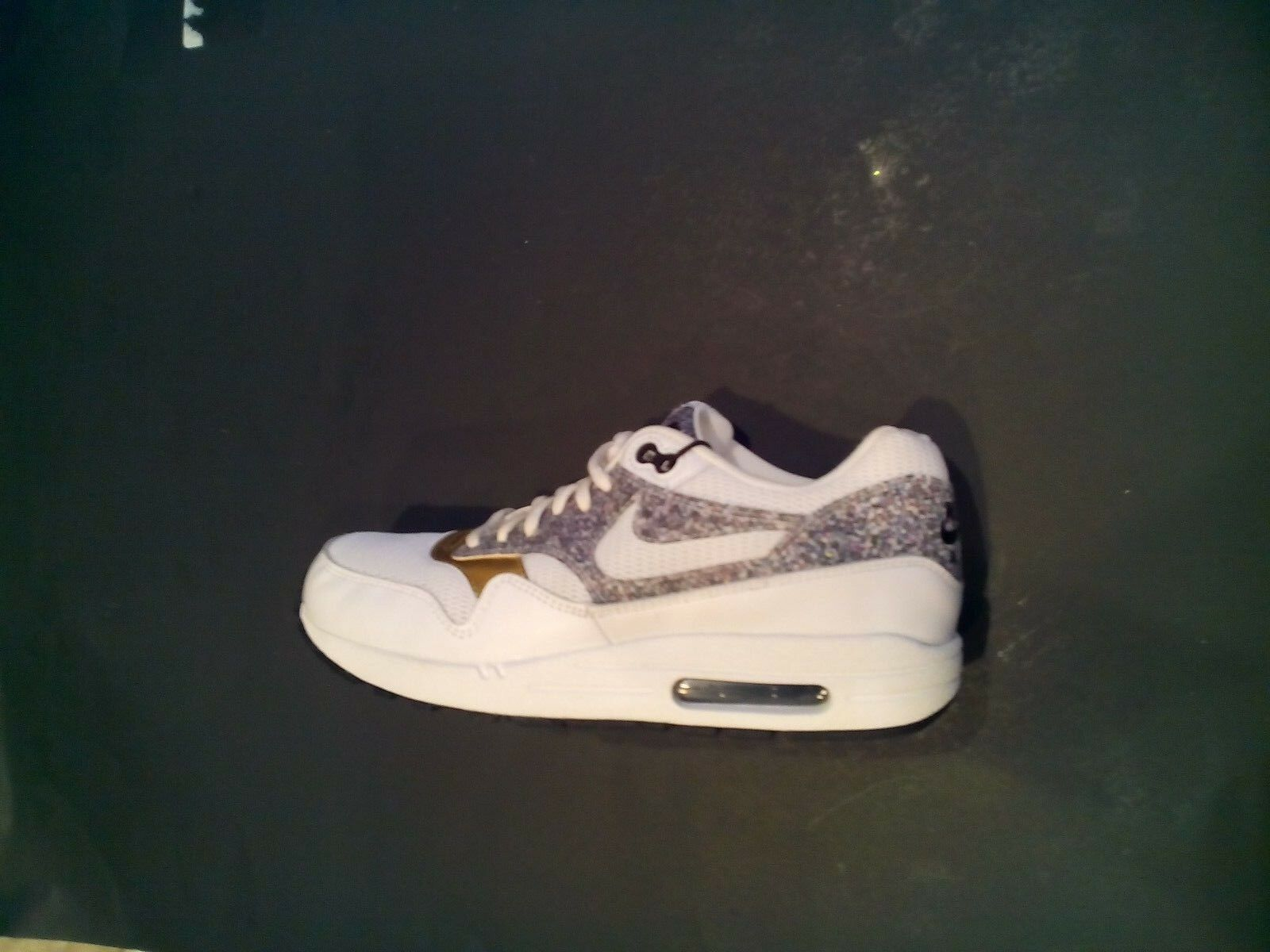 New Nike Women's Air Max 1 SE White & Gold Running Gym Shoes 881101-100 Size 10