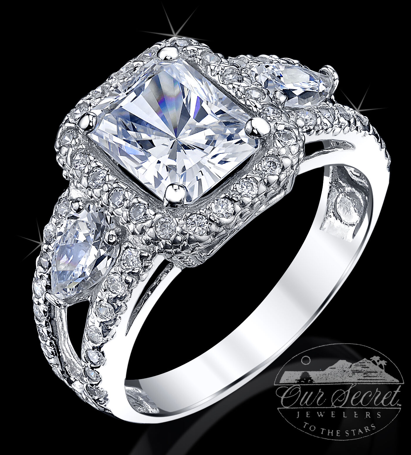 2.5 ct Radiant Cut Ring Top AAAAA CZ Imitation Moissanite Simulant SS S 10