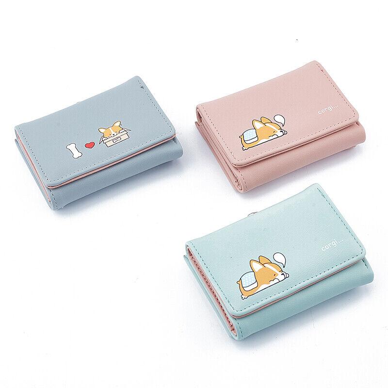 Cartoon Cute Corgi Dog Ladies Purse Short Female Money Coin Pocket Women Wa Xu48
