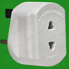 White Shaver Adaptor Plug For 2 Round Pin to 3 Flat Pin UK Plug 13A Socket