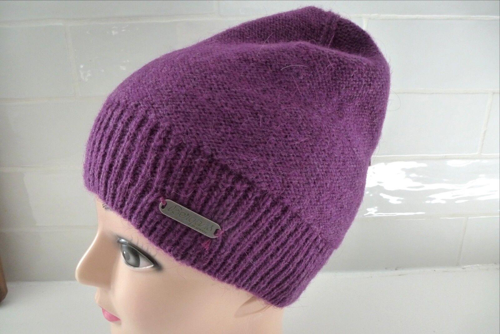 BERGANS of NORWAY Wool   Alpaca PLUM MELANGE Beanie Toque Hat UNISEX Tags
