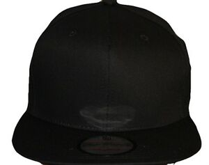 Image is loading Snapback-cap-blank-plain-black-fitted-baseball-hip- 70420904fe4