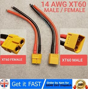 Male to Male Deans T-Plug 14awg extension Silicon Wire 10cm Nylon
