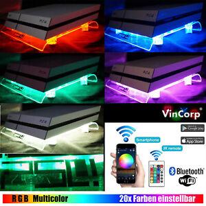 WiFi-PS4-Playstation-4-PS3-RGB-Controller-Live-Kuehler-Luefter-Staender-Zubehoer-LED