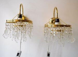 Vintage Collectible Pair Of Brass Crystals Chandelier Wall Light